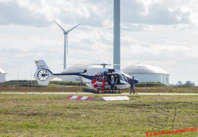Eerste helikopter geland op helihaven Eemshaven